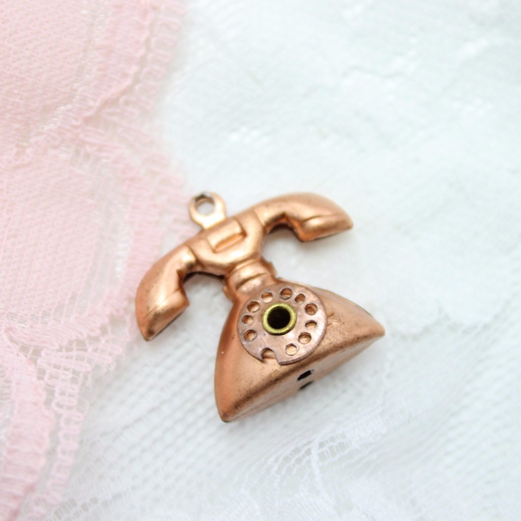 Vintage Copper Telephone Charm