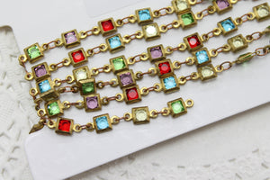 Square Glass Designer Linked Chain