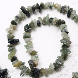 Green Hair Quartz Chip Bead Strand