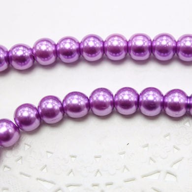 50pc 8mm Purple Glass Pearl Beads
