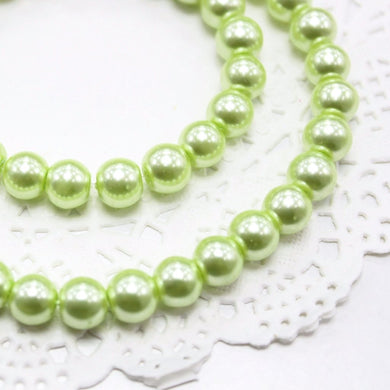 50pc 8mm Green Glass Pearl Beads