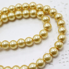 50pc 8mm Gold Glass Pearl Beads