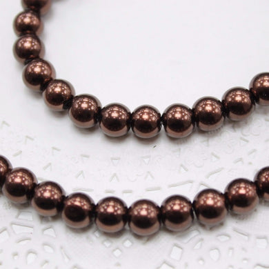 50pc 8mm Brown Glass Pearl Beads