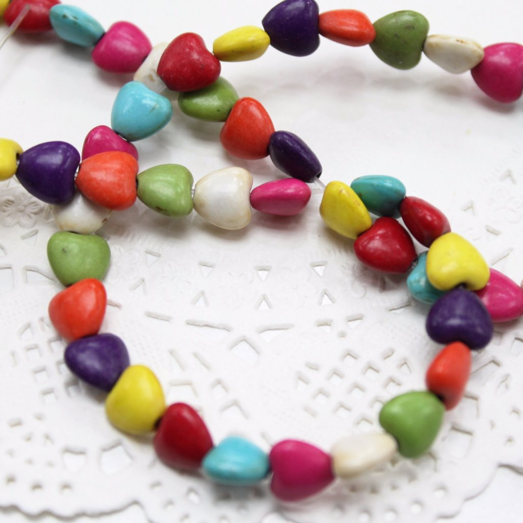 Strand of Mini Howlite Heart Beads
