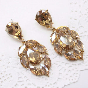 Champagne Gold Rhinestone Earrings