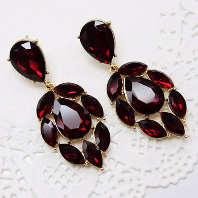 Blood Red Rhinestone Earrings