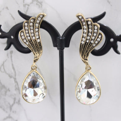 Gold Wing Tear Drop Earrings