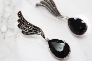 Black Wing Tear Drop Earrings