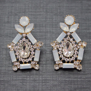 White Opal Rhinestone Earrings