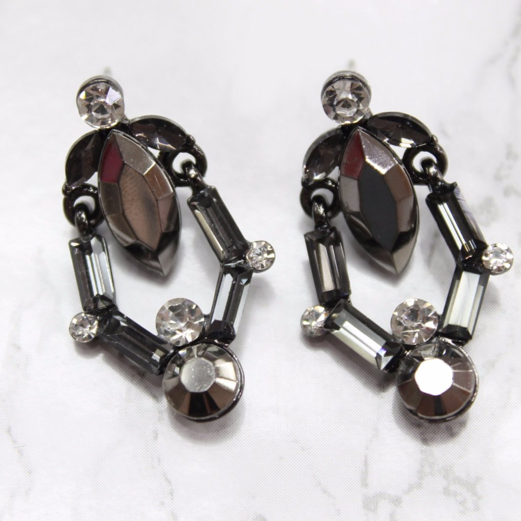 Black Rhinestone Drop Earrings