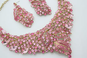 Pink Rhinestone Jewellery Set