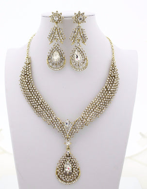 Tear Drop Rhinestone Jewellery Set