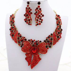 Red Bow Rhinestone Jewellery Set