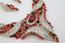 Red and Crystal Rhinestone Jewellery Set