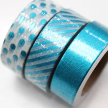 Blue Foil Washi Tape - Set of 3