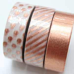 Rose Gold Foil Washi Tape - Set of 3