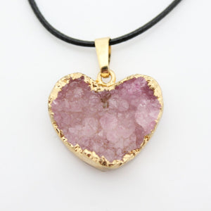 Dyed Quartz Gold Dipped Heart Necklace