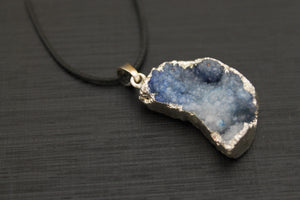 Dyed Quartz Silver Dipped Moon Necklace