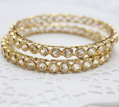 Gold Glass Stone Bangles