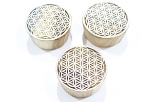 Round Geometric Indian Block Stamp
