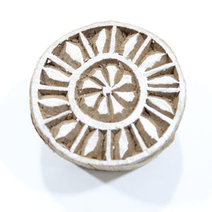 Round Carved Indian Block Stamp