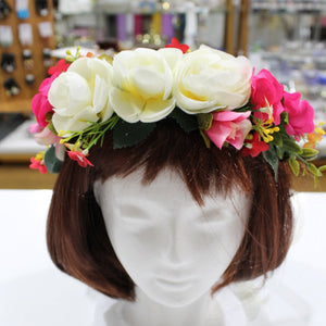 White and Pink Floral Hair Crown