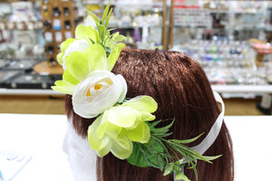 Lime and White Floral Hair Crown