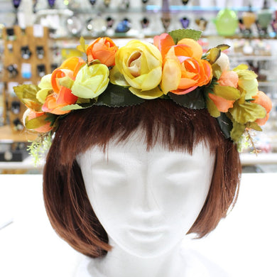 Orange and Yellow Floral Hair Crown
