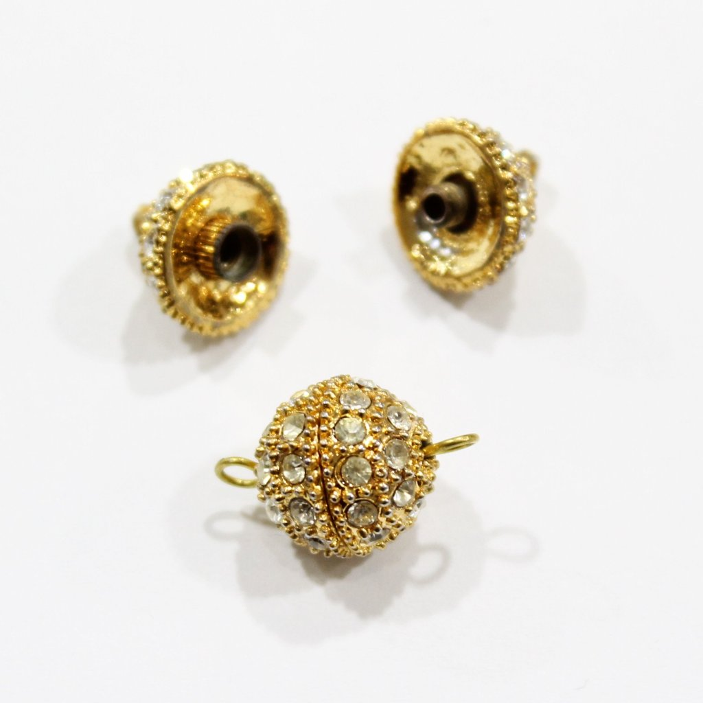 Gold Rhinestone Screw Clasp