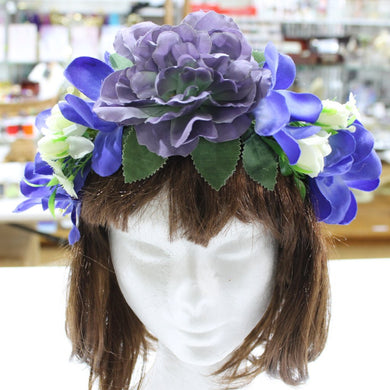 Blue Floral Statement Hair Crown