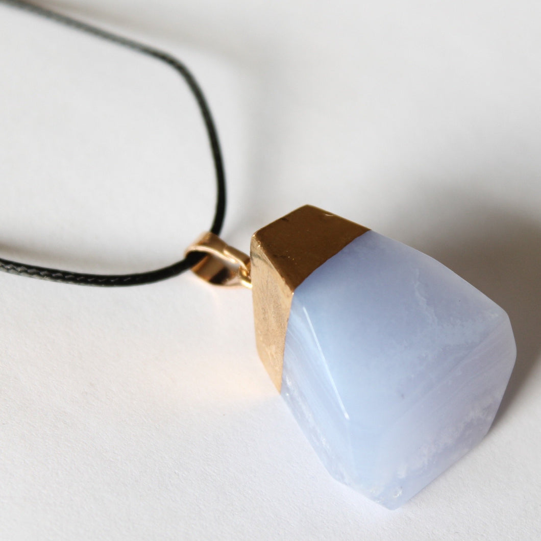 Blue Lace Agate Gold Dipped Necklace