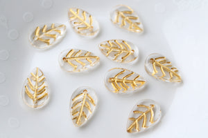 10pc Gold Inlay Glass Leaves
