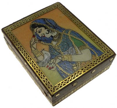 Lady Wooden Brass Box Big