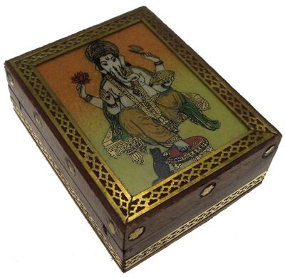 Ganesh Wooden Brass Box Small