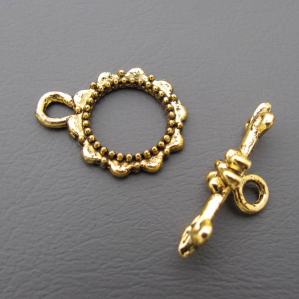 5 Sets Flower Toggle Clasp Antique Gold