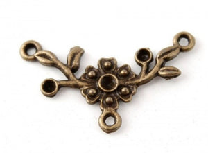 Antique Bronze Flower Connector