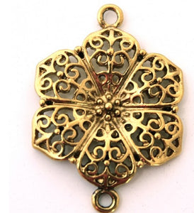 Antique Gold Flower Pendant Link
