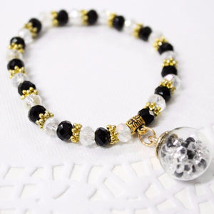 Black and Clear Crystal Beaded Bracelet