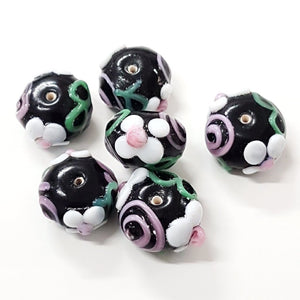 Black and White Floral Glass Bead