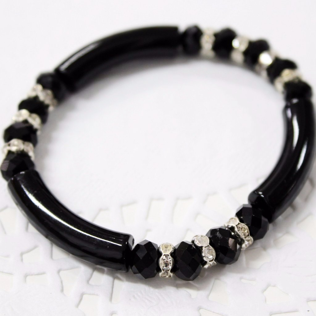 Black Crystal Acrylic Stretch Bracelet