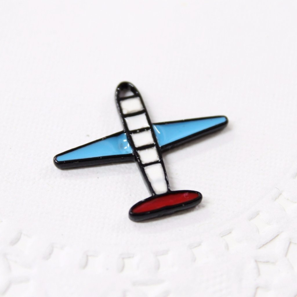 Black Enamel Air Plane Charm