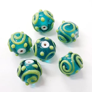 Blue and Green Swirl Lampwork Bead