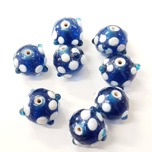 Blue and White Floral Lampwork Bead