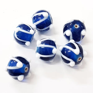 Blue and White Striped Lampwork Bead