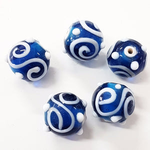 Blue and White Swirl Lampwork Bead