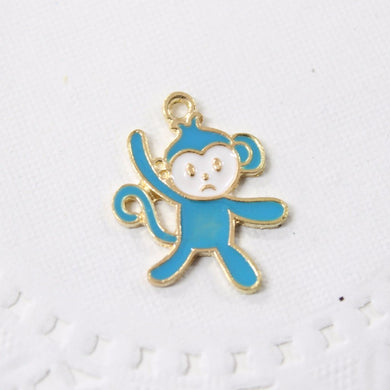 Blue Enamel Monkey Charm