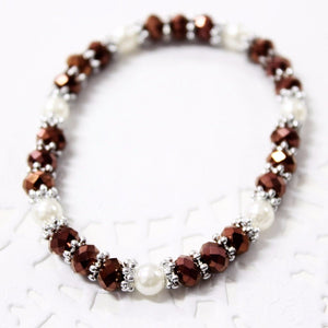 Brown and White Beaded Bracelet