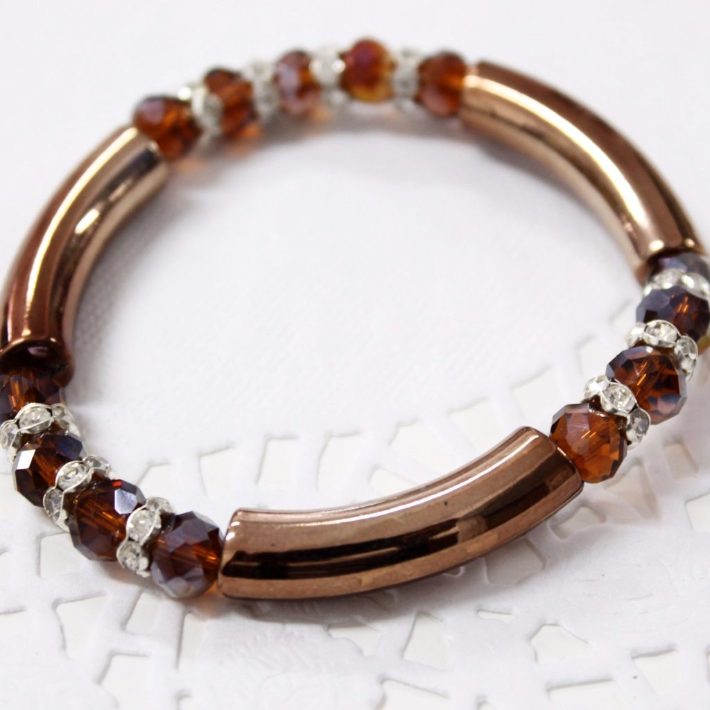 Brown Crystal Acrylic Stretch Bracelet