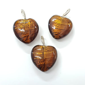 Brown Heart Pendant with Silverfoil