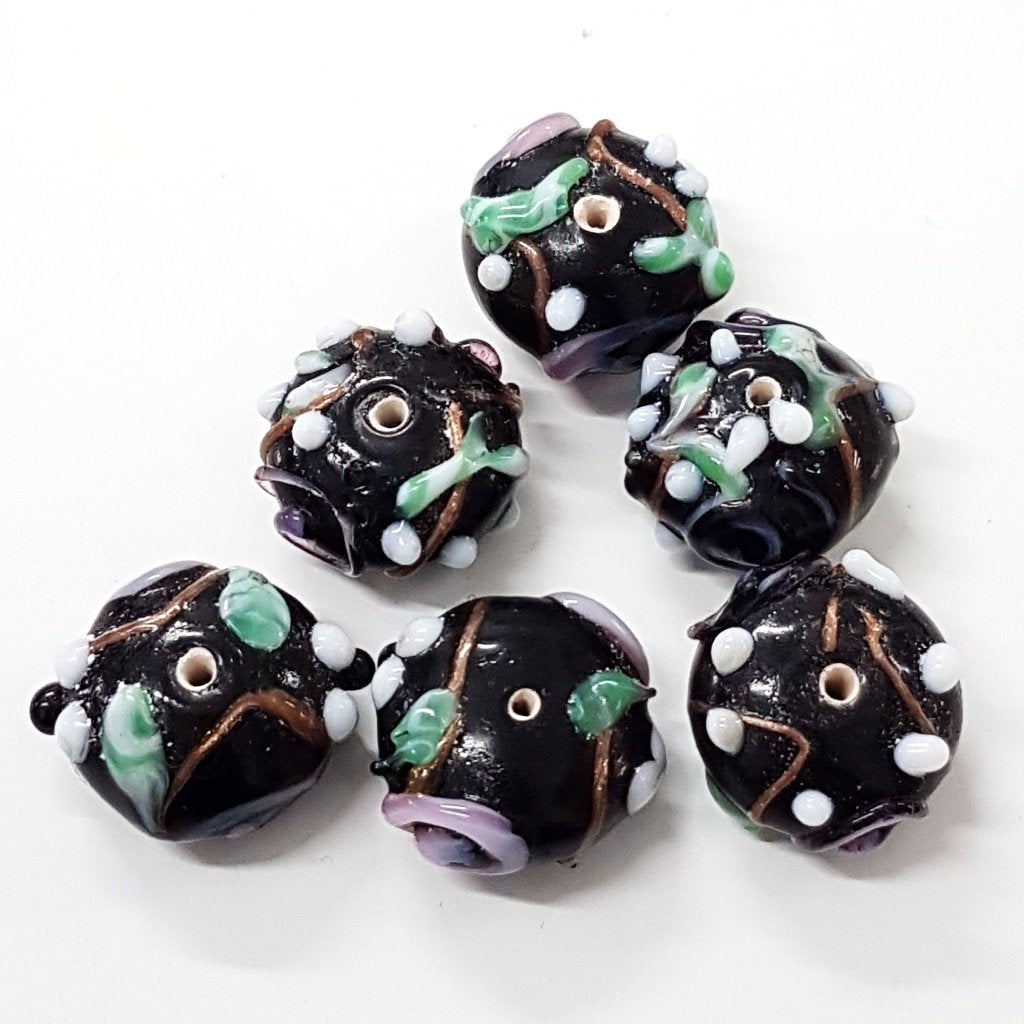 Bumps and Swirls Black Lampwork Bead